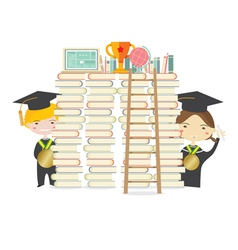 Happy Students With Golden Medal vector image