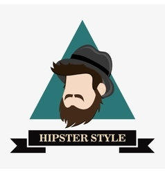 hipster fashion man emblem image vector image