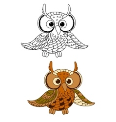 Horned owl bird with mottled brown plumage vector image