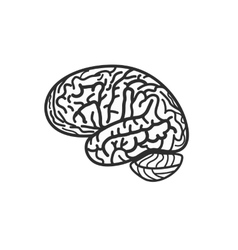 Isolated black and white brain contour logo vector image