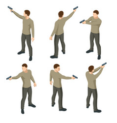 isometric man with a gun in his hand isolated vector image