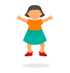 kid girl jump icon flat style vector image