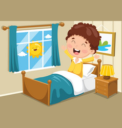 Kid waking up vector