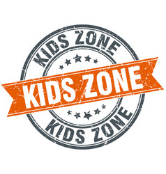 Kids zone round grunge ribbon stamp vector