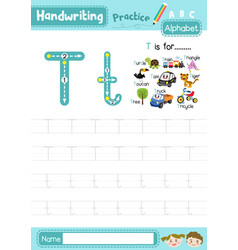 Letter t uppercase and lowercase tracing practice vector