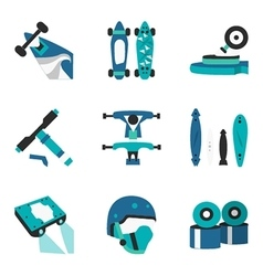 Longboard elements flat color icons vector