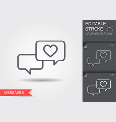 love chat romantic dialog line icon vector image