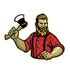 Lumberjack mascot pose with axe vector