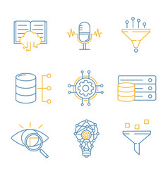 machine learning color linear icons set vector image