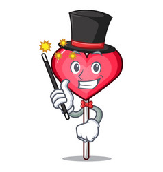 Magician heart lollipop mascot cartoon vector