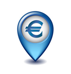 marker location icon euro sign vector image
