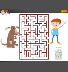 Maze game with cartoon boy and dog vector