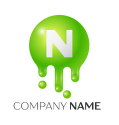 n letter splash green dots and bubbles letter vector image