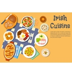 Nourishing meaty irish dishes for dinner menu icon vector image