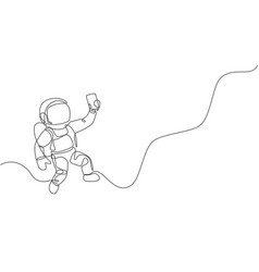 One continuous line drawing cosmonaut vector