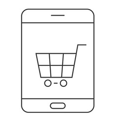 online smartphone shopping icon outline style vector image