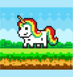 rainbow unicorn pixel art in nature landscape vector image