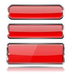 red glass buttons with metal frame set of 3d vector image