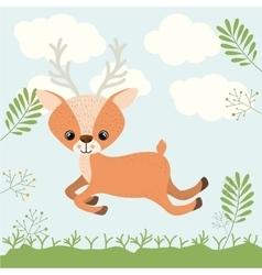 reindeer cute woodland icon vector image