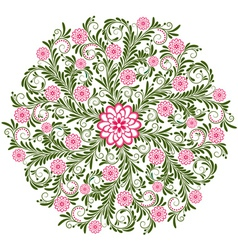 round vintage floral pattern vector image
