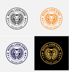 royal lion badge logo template vector image