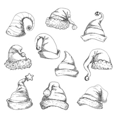 Santa hats pencil sketch icons vector