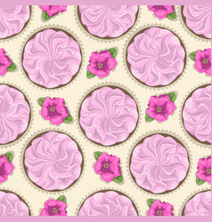 seamless pattern of cake and flower vector image