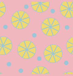 Seamless pattern with fresh lemons on pink vector