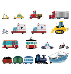 Set cartoon transport collection cars and vector