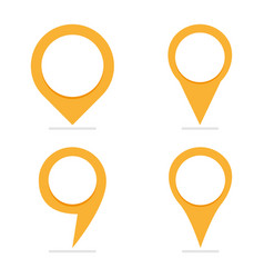 Set of 4 yellow map pointers in different form vector
