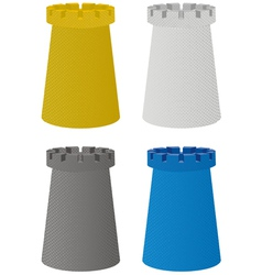 Set of four color towers vector