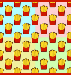 Set of french fries seamless pattern background vector
