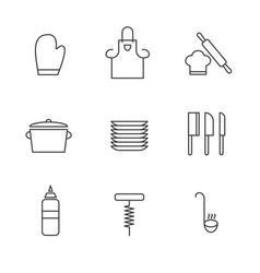 set simple kitchen utensils icon in trendy vector image