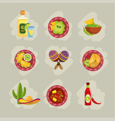 set traditional mexican food with sauces and vector image