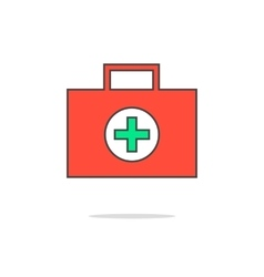 Simple red medical suitcase vector