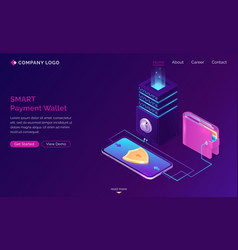 Smart payment wallet isometric landing web banner vector