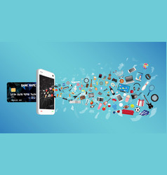 smartphone with credit card and general object vector image