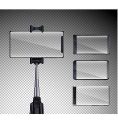 smartphones realistic transparent set vector image