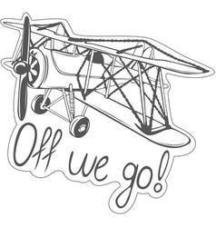 Sticker of biplane vector