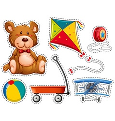 Sticker set with many toys vector