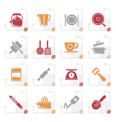 stylized kitchen gadgets and equipment icons vector image
