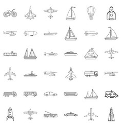 submarine icons set outline style vector image