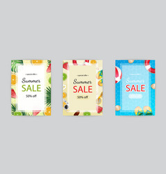 summer sale poster banner template season vector image