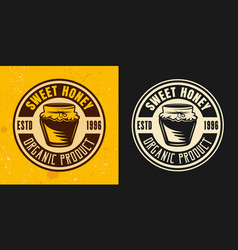 sweet honey two colored styles round emblem vector image