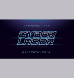 Technology abstract neon font and alphabet techno vector