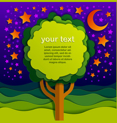 Tree with copy space for text in night in the vector