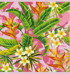 Tropical jungle pink camo background seamless vector