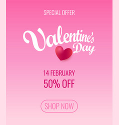 valentines day special offer flyer layout design vector image