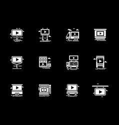 video ads displays white glyph icons set vector image