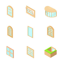 window orifice icons set isometric style vector image